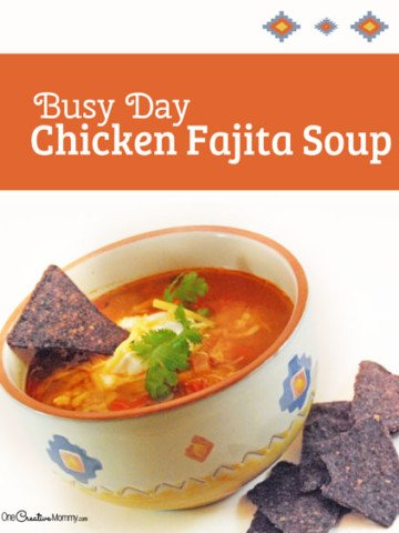 Too busy to cook? Try this Quick and Easy Busy Day Chicken Fajita Soup. So yummy! {OneCreativeMommy.com} Gluten Free Soup Recipe perfect for Fall