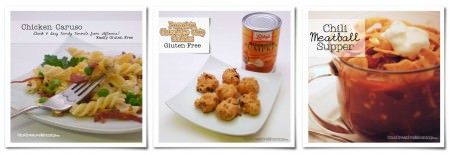 Kid-Friendly Gluten Free Recipes from OneCreativeMommy.com  {Chicken Caruso, Pumpking Chocolate Chip Cookies, Chili Meatball Supper)