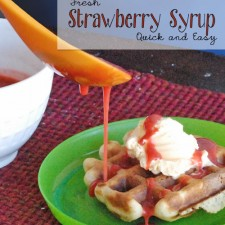 Quick & Easy Fresh Strawberry Syrup --(Only two ingredients!) Great as a topping for ice cream or breakfast a la mode {OneCreativeMommy.com}