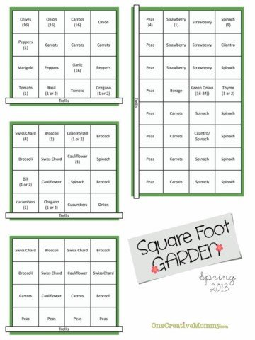 Spring Square Foot Garden Plan {OneCreativeMommy.com}