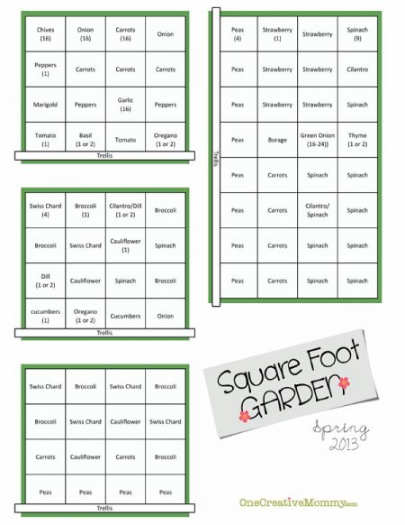 Square Foot Garden Plan for Spring from OneCreativeMommy.com