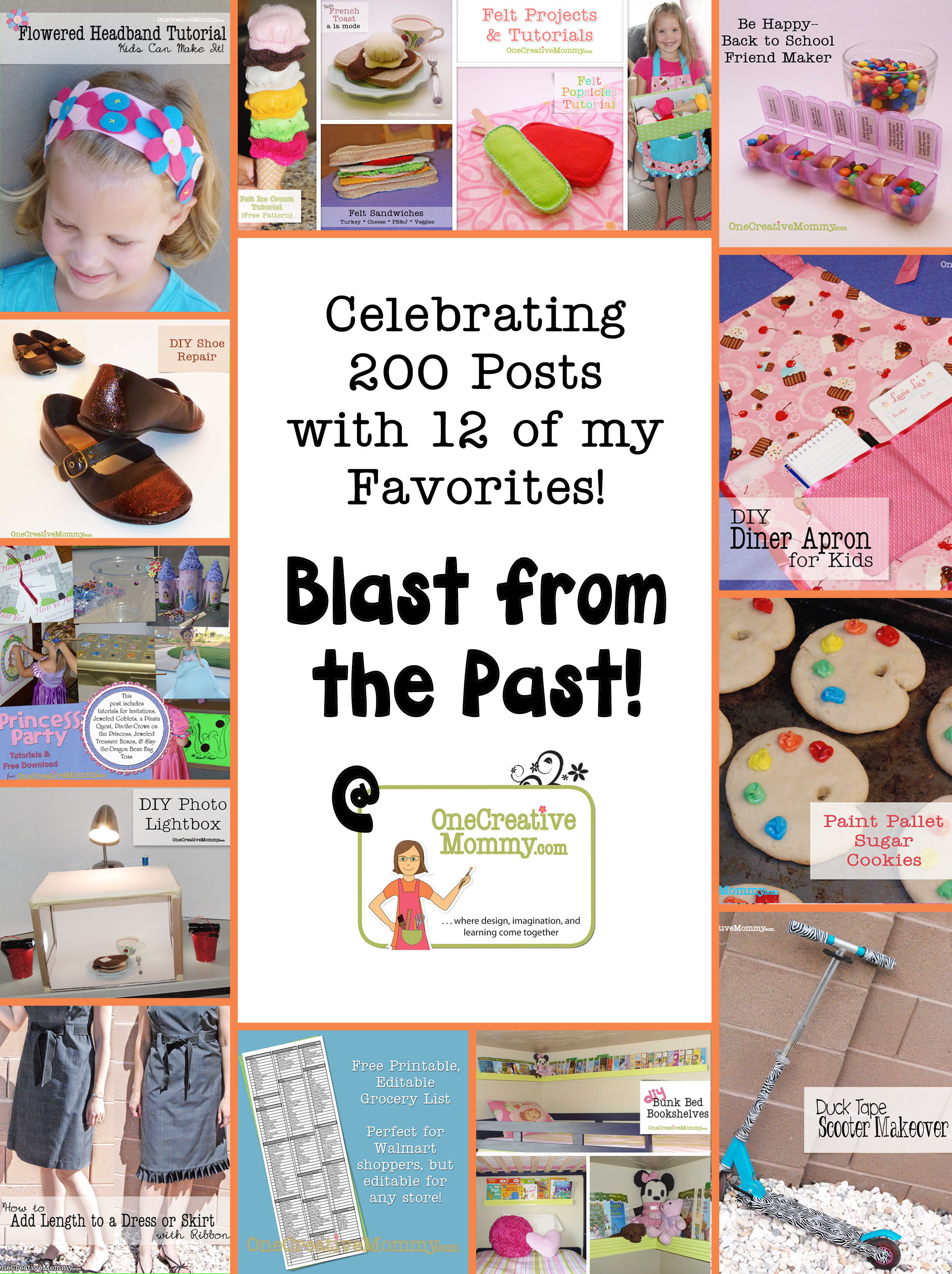 12 Favorite Projects from my First 200 Posts on OneCreativeMommy.com {Which is your favorite?}