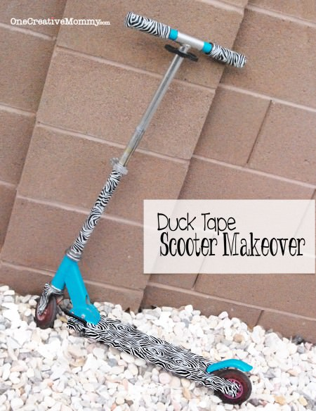 Duck Tape Scooter Makeover from OneCreativeMommy.com {Don't throw away that faded scooter. Give it a fresh new look with duck tape! This scooter went from Barbie to all grown up!}