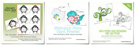 Motivational Point Cards for Kids Free Printables from OneCreativeMommy.com