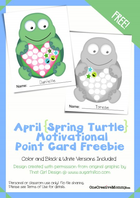 Motivational Point Cards for Kids {Spring Turtle April Freebie} Printable from OneCreativeMommy.com