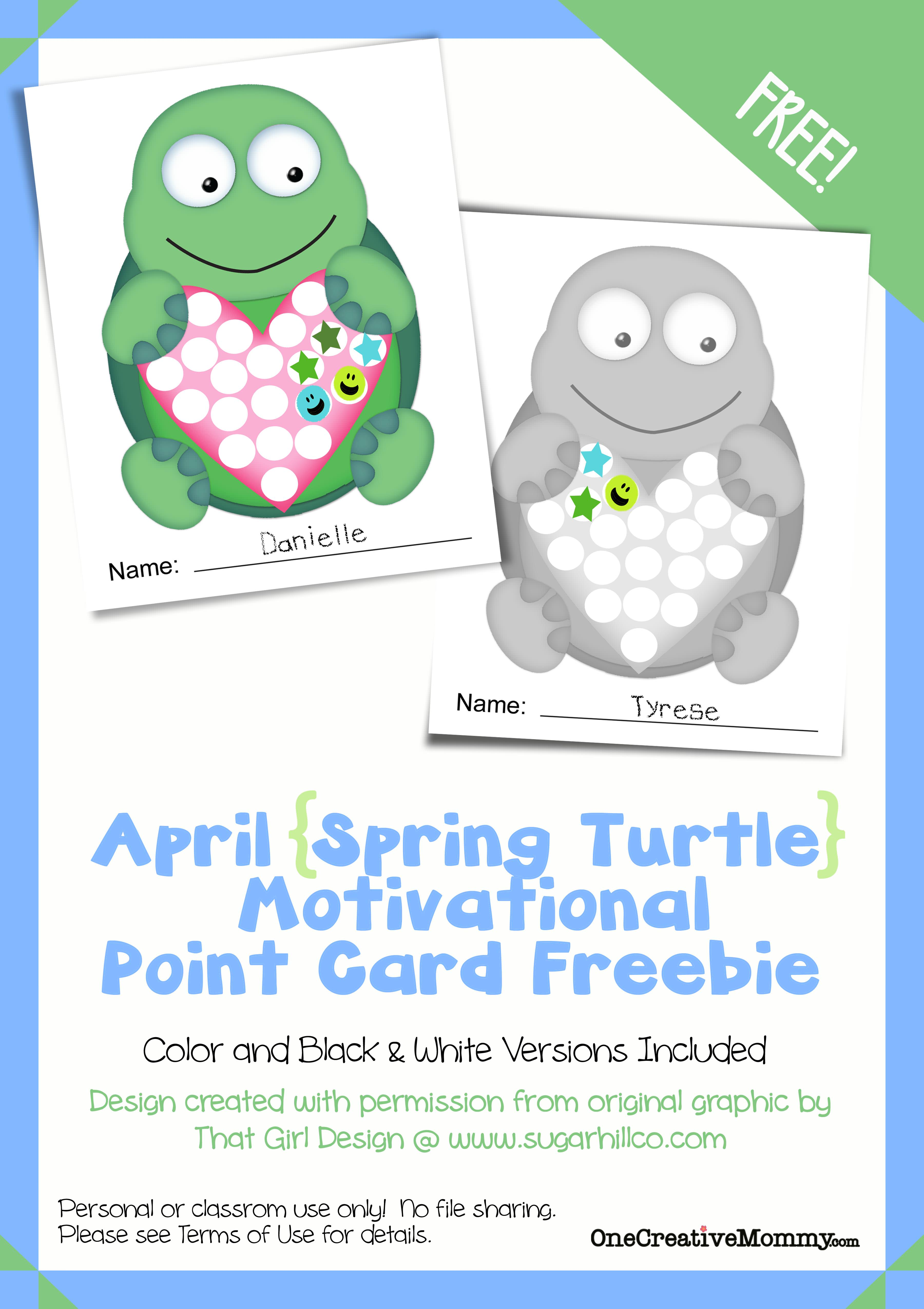 Color cards for kids - Motivational Point Cards For Kids Spring Turtle April Freebie Printable From Onecreativemommy Com