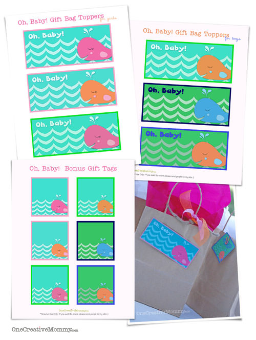 printable bag toppers and tags for baby gifts free download
