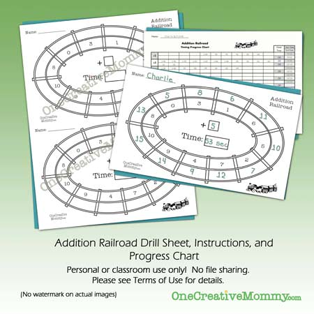 Free Addition Railroad Speed Drill and Progress Chart from OneCreativeMommy