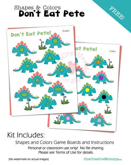 Colors and Shapes Don't Eat Pete Math Game {Perfect for Preschoolers!} Now free from OneCreativeMommy.com}