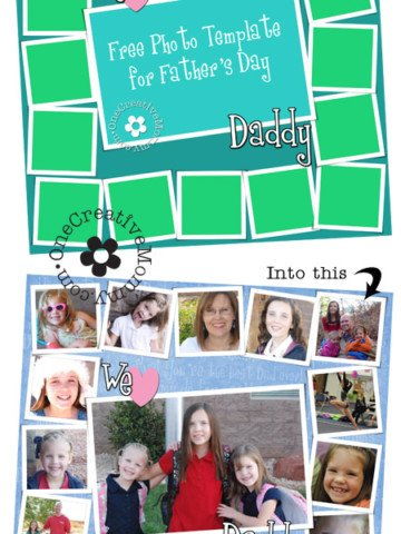 Free Photoshop Template for Father's Day from OneCreativeMommy.com {Just add your own pics, and you're ready to go!}