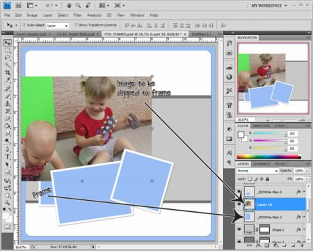 How to Use a Photoshop Photo Template (How to Clip an Image to a Frame) OneCreativeMommy.com