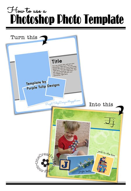 How to Use a Photoshop Template {OneCreativeMommy.com} Clip photos to frames the easy way!  A simple trick you need to know!