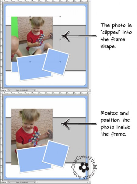 How to Use a Photoshop Photo Template (Resize and Position Photo) OneCreativeMommy.com