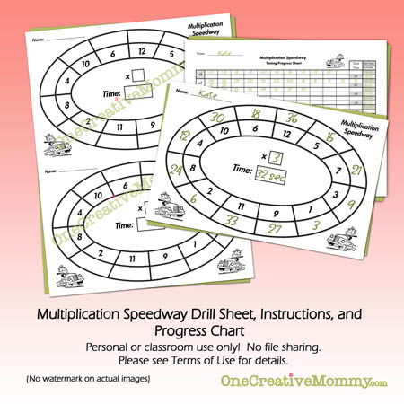 Free Multiplication Speedway Practice Drill and Progress Chart from OneCreativeMommy