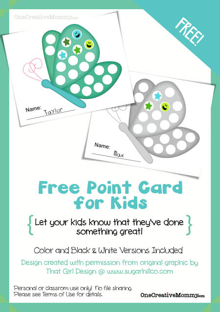 Free Point Card for Kids from OneCreativeMommy {Let your kids know when they've done something good!}  Stop by every month for a new design.