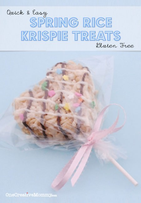 Quick and Easy Gluten Free Spring Rice Krispie Treats--Make these in under a half hour!!! {OneCreativeMommy.com}
