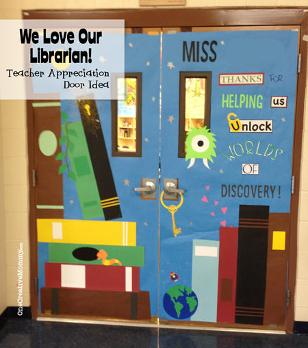 25 Teacher Appreciation Door Ideas from OneCreativeMommy.com {Librarian Theme}