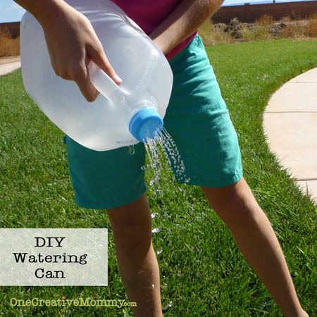 Watering Can from Milk Jug {Simple Upcycle from OneCreativeMommy.com}