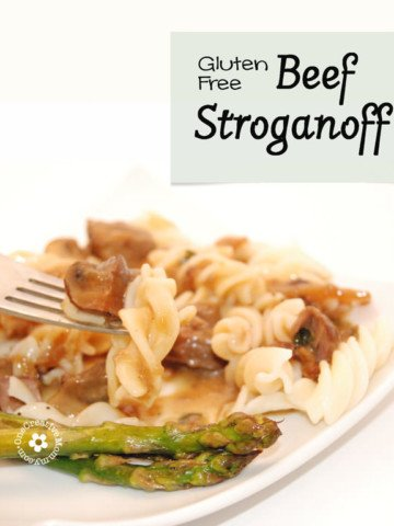 Easily Gluten-Free Slow Cooker Beef Stroganoff from OneCreativeMommy.com {The dijon mustard in the sauce makes this soooo yummy!}