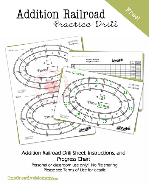Addition Railroad Practice Drill and Progress Chart from OneCreativeMommy.com {Keep kids learning this summer!}