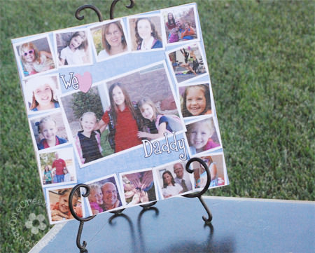 Father's Day Photo Gift Idea | Easy Mod Podge photo tile. Free photoshop template available at the same site {OneCreativeMommy.com}
