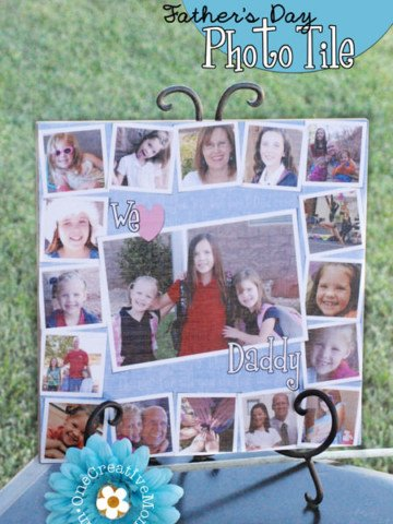 Father's Day Photo Gift Idea from OneCreativeMommy.com {Mod Podge image to ceramic tile. Free photoshop template available at the same site}