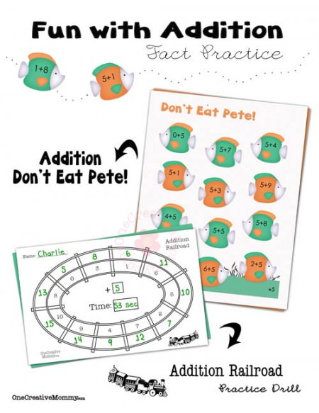 Fun with Addition Facts Practice for Kids from OneCreativeMommy.com