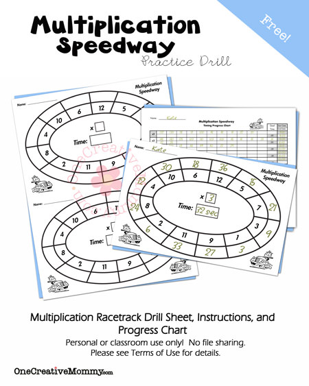 Free Multiplication Speedway Practice Drill and Progress Chart from OneCreativeMommy.com {Keep kids learning this summer!}