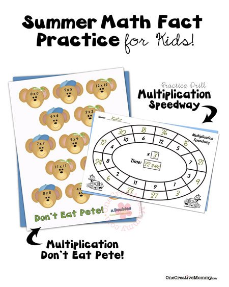Summer Math Fact Practice-Multiplication - onecreativemommy.com