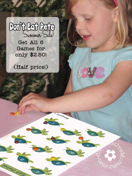 Don't Eat Pete Summer Sale! Get all 6 Don't Eat Pete games for half price! (Shapes & Colors, Number Recognition, Addition, Multiplication, Division and Phonograms!)