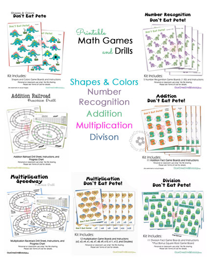 Math Practice Games and Drills from OneCreativeMommy.com