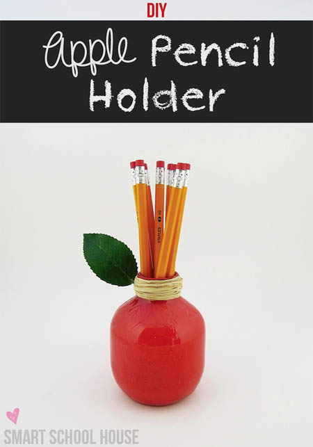 DIY Apple Pencil Holder.  Visit SmartSchoolhouse.com for the video tutorial.