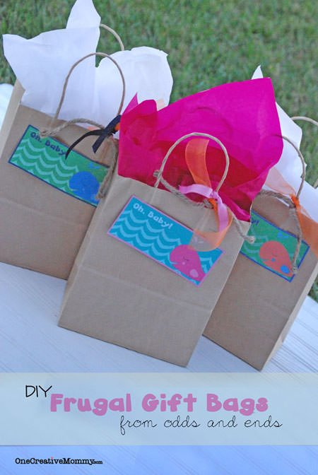 Easy Gift Bags from Recycled Materials--Forgot to get a gift bag?  Check out these easy tips for making your own, and download free bag toppers from OneCreativeMommy.com.