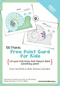 Point cards are perfect for motivating kids and keeping track of their successes. {Visit OneCreativeMommy.com to download the newest free design: 100-Point Snail Point Card for Kids}