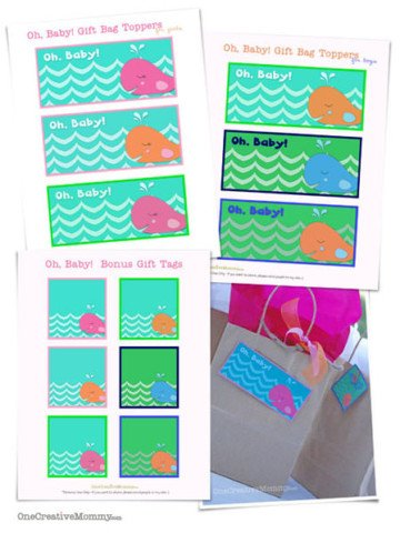 Printable Baby Gift Bag Toppers from OneCreativeMommy.com