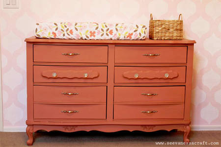 Vintage Dresser Makeover--Visit See Vanessa Craft to see the amazing before and after!
