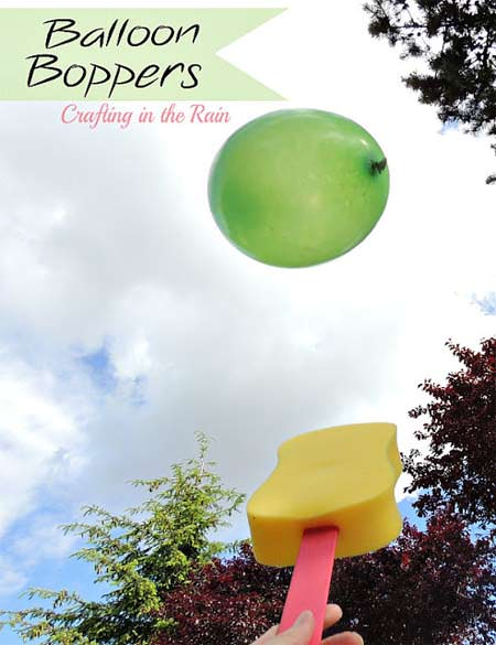 Balloon Boppers--Fun for the kiddos outside or inside!  {Please pin from the original post at Crafting in the Rain}