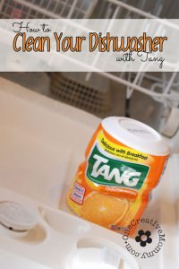 Clean Your Dishwasher with Tang! Before you call an expensive repairman, try this simple method to get your dishwasher working like new again! {OneCreativeMommy.com}