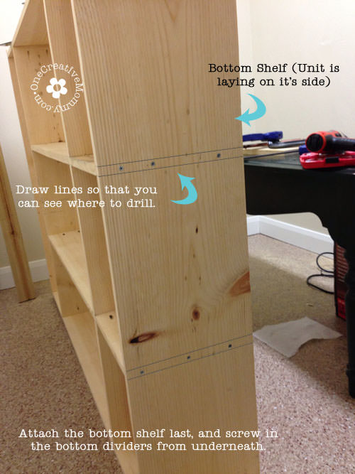 DIY Storage Lockers for Kids -- Attaching the bottom dividers {OneCreativeMommy.com}