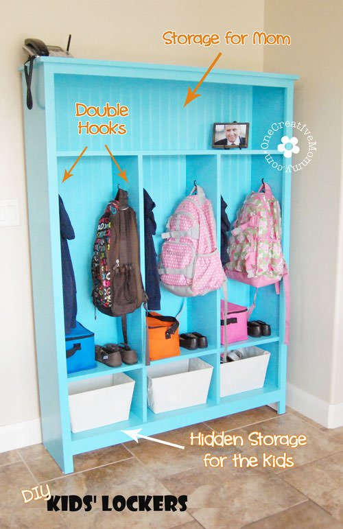 DIY Storage Lockers for Kids -- No Mudroom? No problem! {OneCreativeMommy.com} Organize your morning routine with this great storage solution! #organizationhacks #storagehacks #lockers #diy