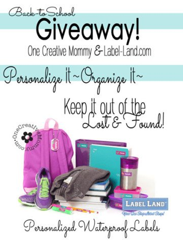 Keep your kids' stuff out of the lost and found with personalized labels from Label-land.com {Giveaway on OneCreativeMommy.com} #giveaway