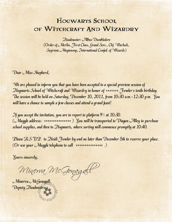 Harry Potter Party Invitations by Owl Post onecreativemommy – Harry Potter Party Invitation