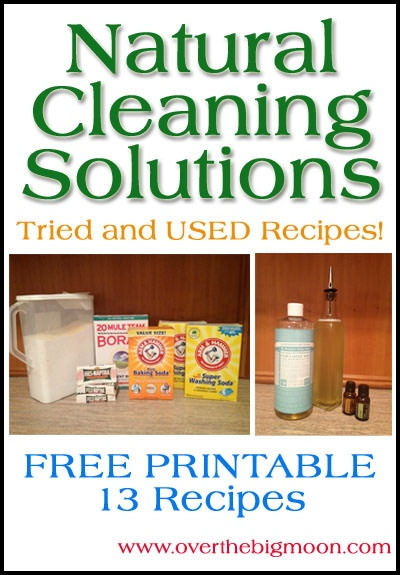 Natural Cleaning Solutions Tried and Used Recipes with Free Printables from OvertheBigMoon.com