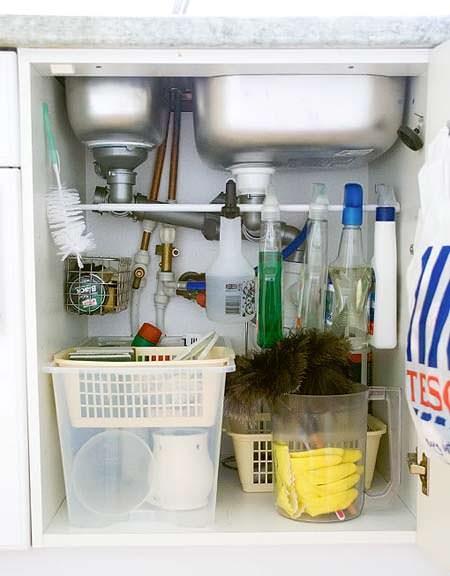 Organizing Cleaners Under the Sink from JenThousandWords.com