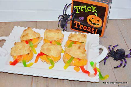 Halloween Cream Puffs Infested with Gummy Worms {A delightfully creepy Halloween Party Treat!} from Food Storage Moms