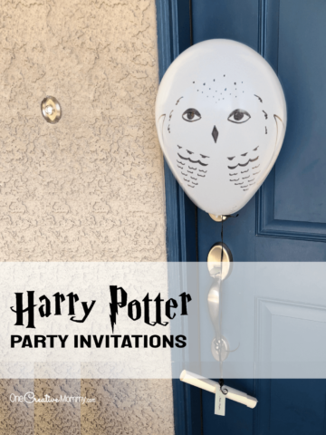 Harry Potter party invitations tied to a balloon owl. Perfect invitations for a birthday party!