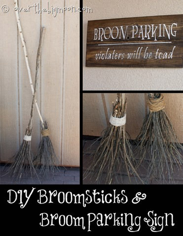 DIY Broomstick Parking {Broomsticks and Sign} from Over the Big Moon