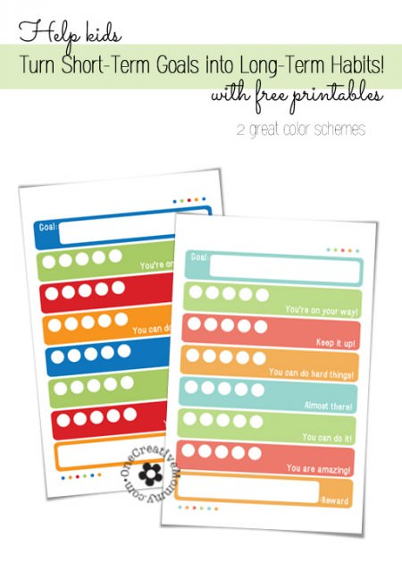 Goal Setting: Helping kids turn short-term goals into long-term habits {Free Printables} OneCreativeMommy.com