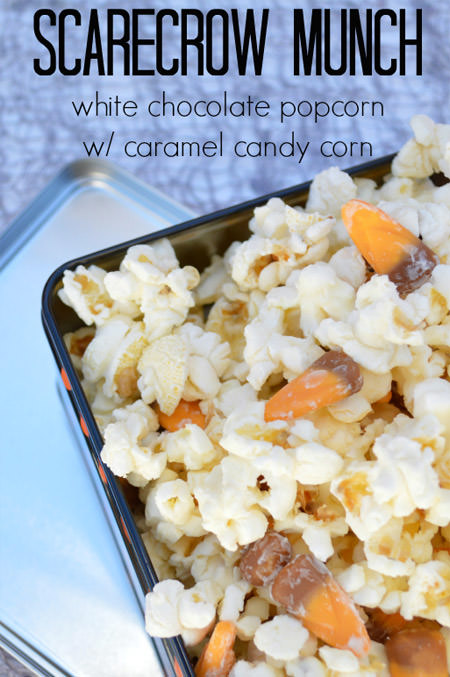 Scarecrow Munch {White Chocolate Popcorn with Caramel Candy Corn} from Our Thrifty Ideas