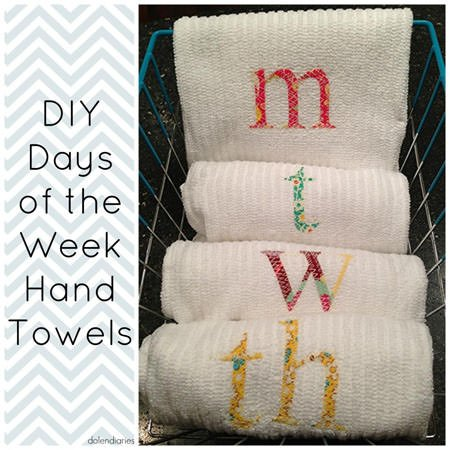 DIY Hand Towels--So simple, and perfect for neighbor or hostess gifts. {From Dolen Diaries on OneCreativeMommy.com}